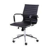 Cadeira Giratória Charles Eames em PU Baixa Preta OR Design