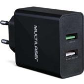 Carregador de Tomada Concept Quick Charger 2 Entradas USB Preto CB117 1 UN Multilaser