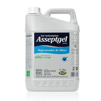Álcool em Gel Antisséptico para Mãos 70% 4,3Kg 1 UN Asseptgel