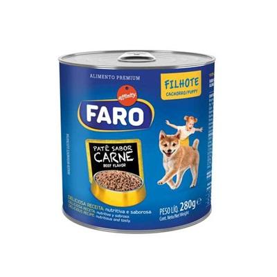 Ração Úmida para Cães Filhotes Sabor Carne Lata 280g 1 UN Faro