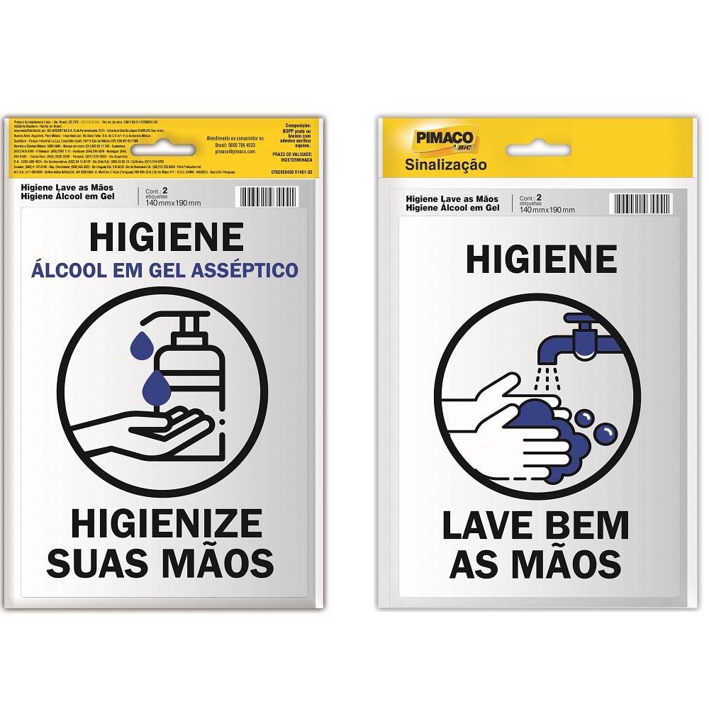 Placa de Sinalização Higienize suas Mãos Álcool em Gel e Lave Bem as Mãos Pimaco