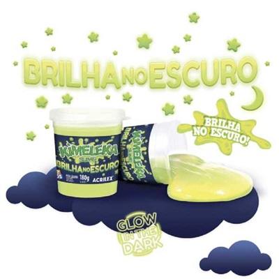 Kimeleka Slime Brilha no Escuro Amarelo Fosforescente 180g 1 UN Acrilex