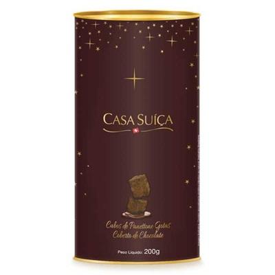 Cubos de Panettone Gotas e Cobertura de Chocolate 200g Casa Suíça