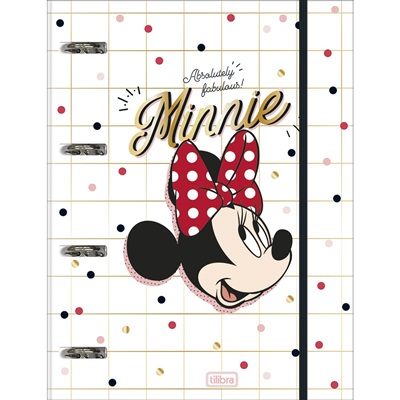 Caderno Argolado Universitário Cartonado Com Elástico 80 FL Minnie 1 UN Tilibra