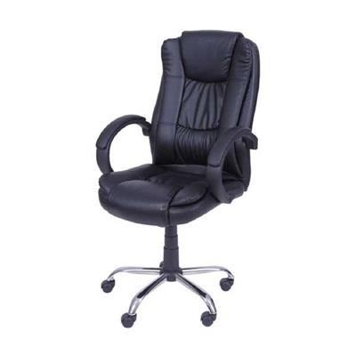 Cadeira Giratória Charles Eames Couro Ecológico Ajuste Altura Preto OR Design