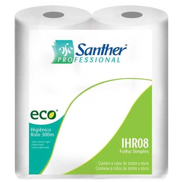 Papel Higiênico Folha Simples Eco Rolão 300m Celulose PT 8 RL Santher