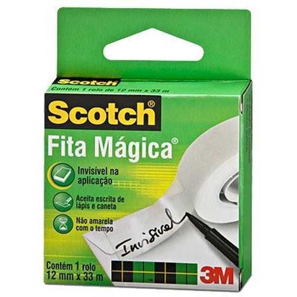 Fita Adesiva Mágica Scotch 1 Rolo 12mm x 33m 1 UN 3M