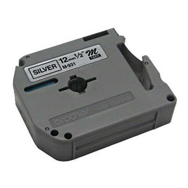 Fita para Rotulador 12mm x 8m Preto e Prata M931 1 UN Brother