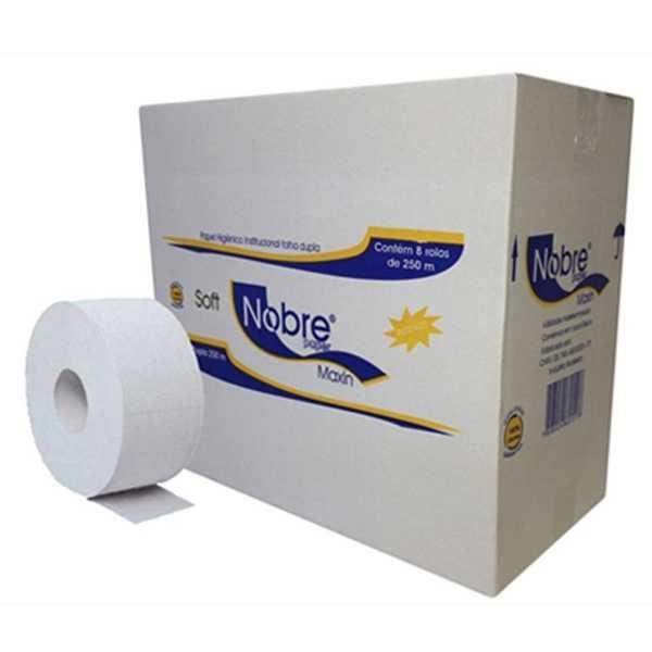 Papel Higiênico Folha Dupla Rolão 250m Picotado Celulose CX 8 RL Nobre