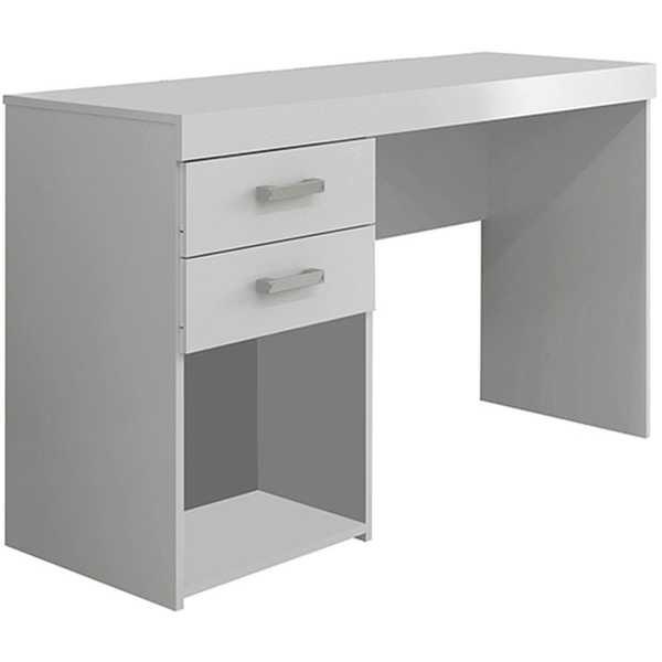 Mesa Escrivaninha Malta com 2 Gavetas Branca 75,5x120x46,5cm 1 UN Politorno