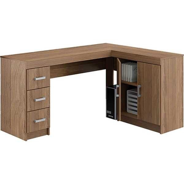 Mesa para escrit rio espanha em l castanho 1 un politorno for Mesa escritorio l