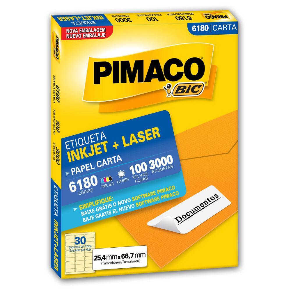 Etiqueta Adesiva InkJet e Laser Carta 25,4x66,7mm Branco 6180 CX 3000 UN Pimaco