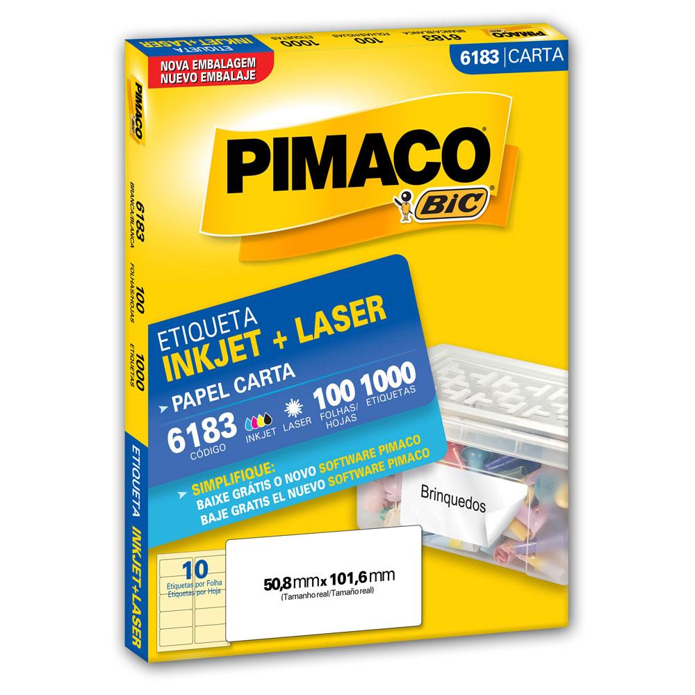Etiqueta Adesiva InkJet e Laser Carta 50,8x101,6mm Branco 6183 CX 1000 UN Pimaco