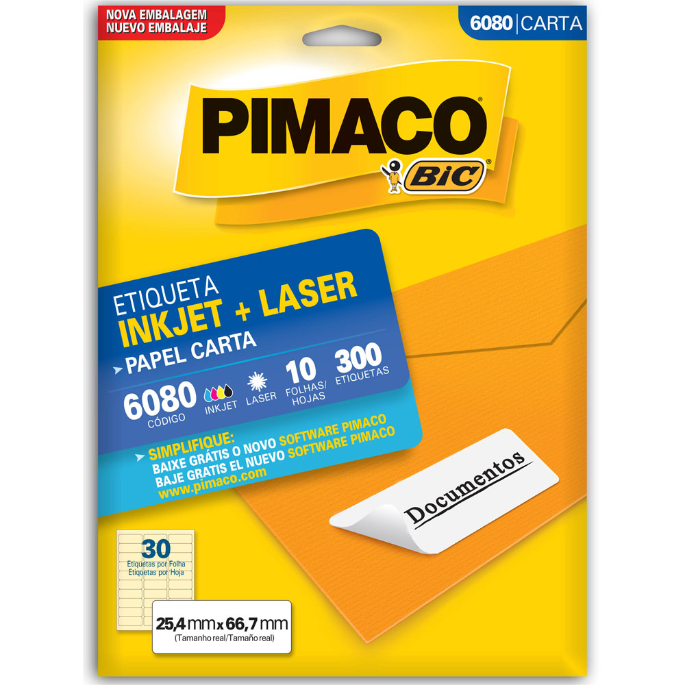 Etiqueta Adesiva InkJet e Laser Carta 25,4x66,7mm Branco 6080 CX 300 UN Pimaco