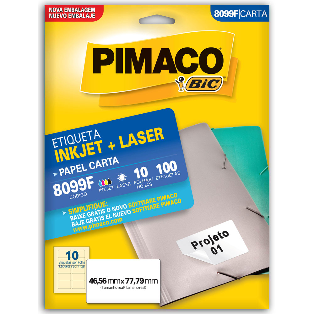 Etiqueta Adesiva InkJet e Laser Carta 46,56x77,79mm Branco 8099F CX 100 UN Pimaco