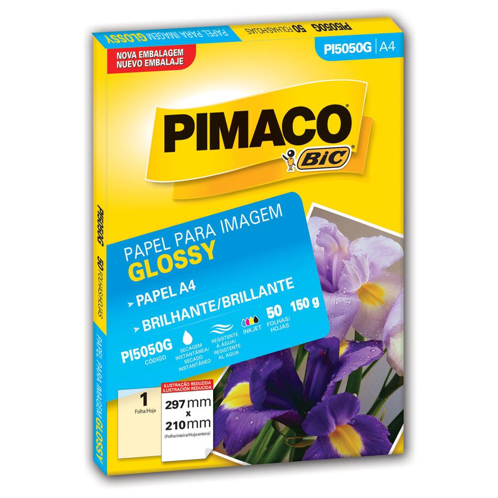 Papel Fotográfico Glossy A4 PI5050G PT 50 FL Pimaco