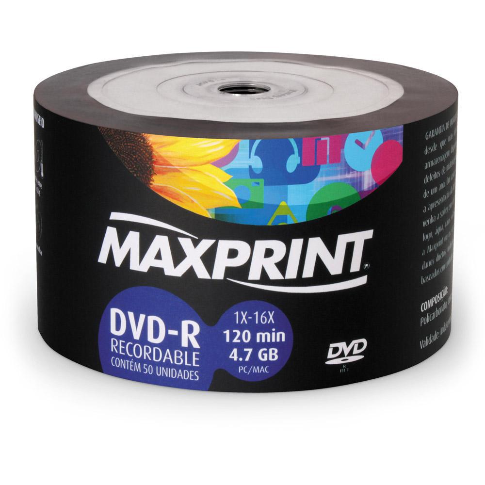DVD-R Gravável Printable 4.7GB 120min 50 UN Maxprint