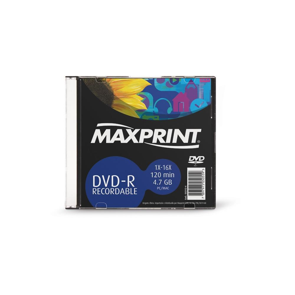 DVD-R Gravável 120min 4.7GB 1X-16X 1 UN Maxprint