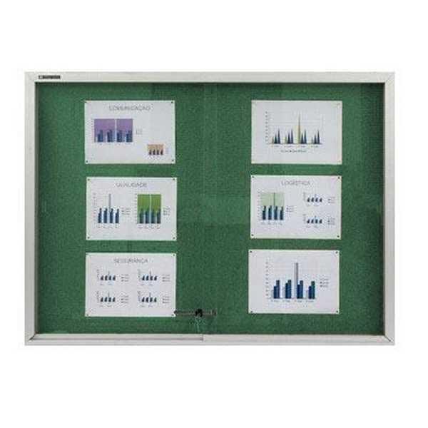 Quadro de Aviso com Porta de Vidro Feltro e Alumínio 40x60cm 1 UN Board Net