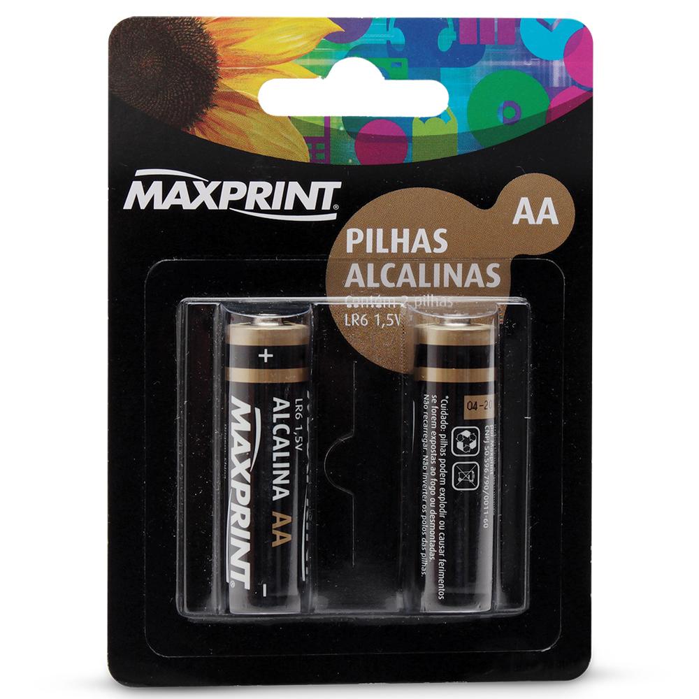 Pilha Alcalina Pequena AA 2 UN Maxprint