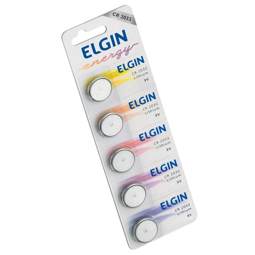 Bateria de Lithium 3V Formato Botão CR2032 5 UN Elgin