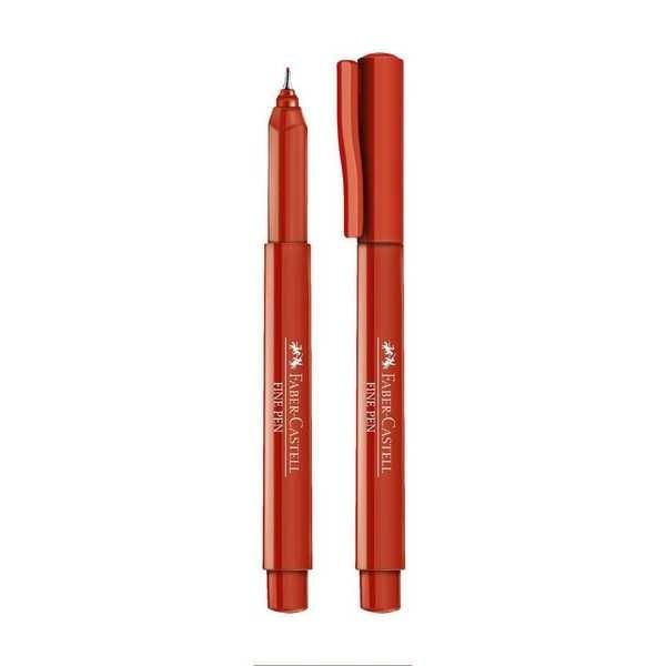 Caneta Hidrográfica Fine Pen Vermelha 0.4mm 1 UN Faber Castell
