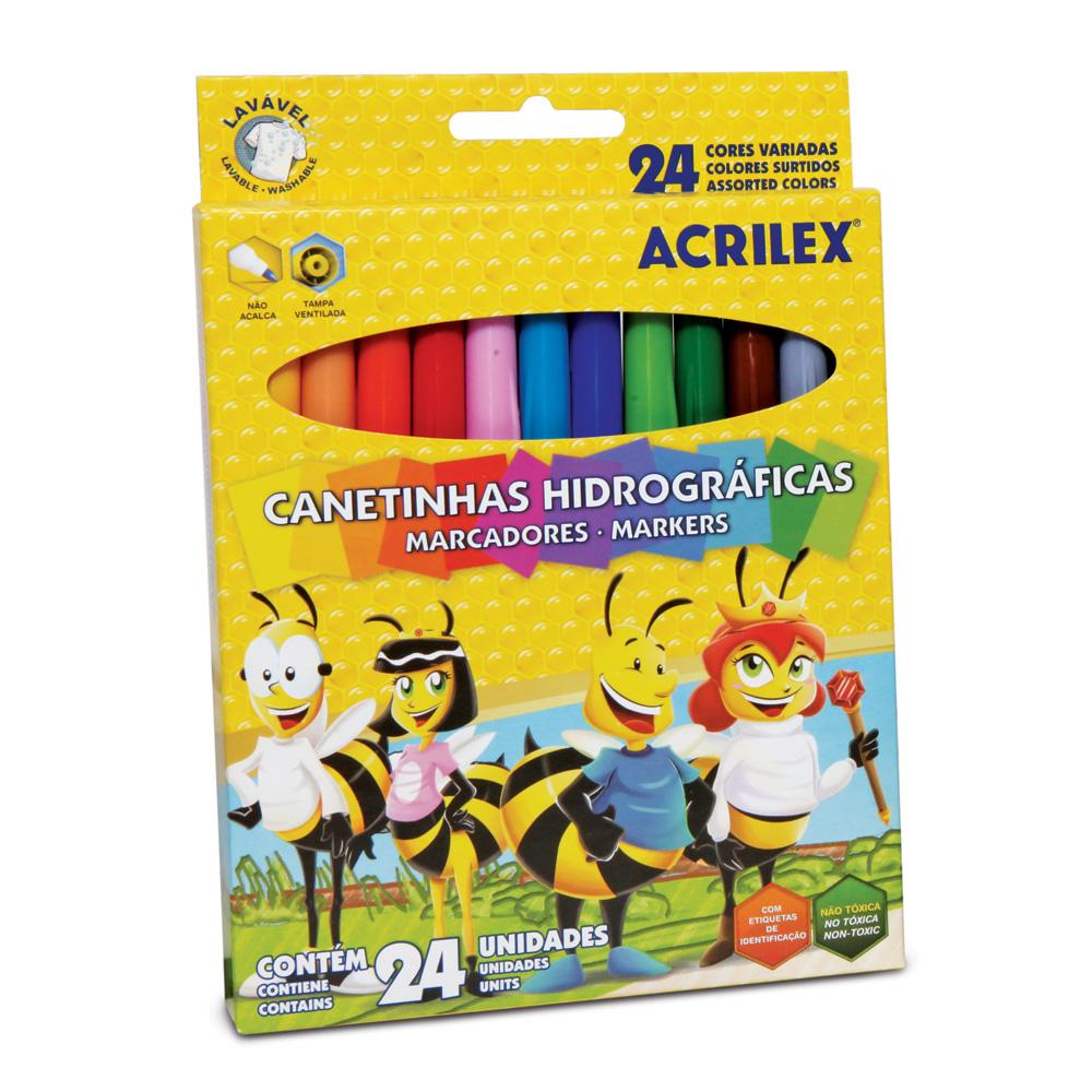 Caneta Hidrográfica Colorir Abelhinhas 24 Cores Acrilex