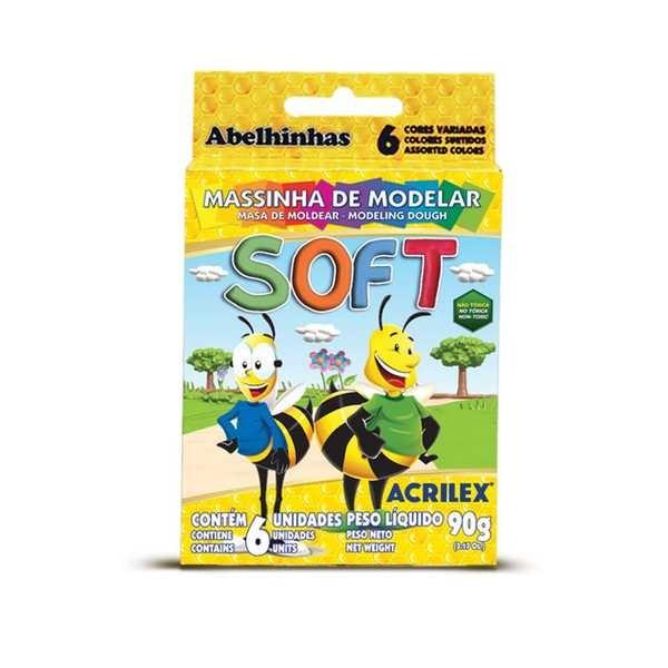 Massa de Modelar Soft Abelhinhas 90g 6 UN Acrilex