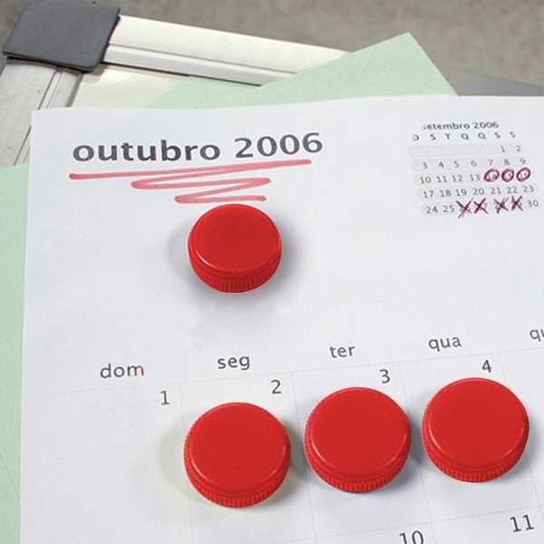 Imã Redondo Vermelho 2cm Cartela 6 UN Board Net