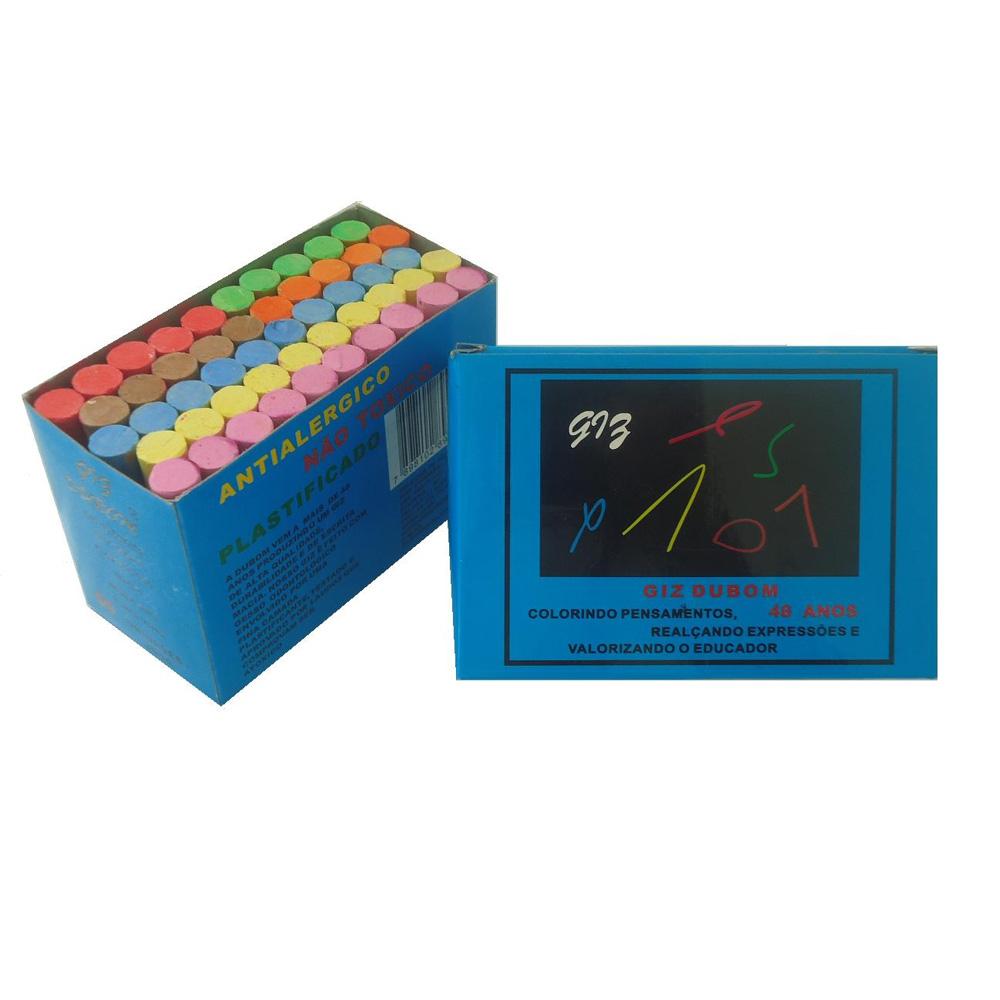 Giz de Lousa Antialergico Colorido CX 50 UN Dubom