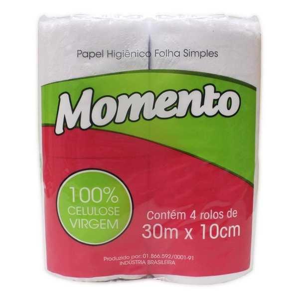 Papel Higiênico Folha Simples 30m Branco PT 4 RL Momento