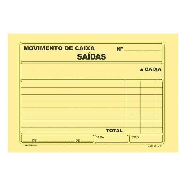 Bloco Movimento de Caixa Saída Amarelo 100 FL 6870-0 São Domingos