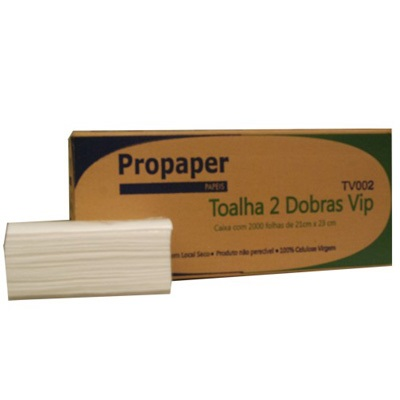 Papel Toalha Interfolha 2 Dobras 21x23cm CX 2000 FL Propaper