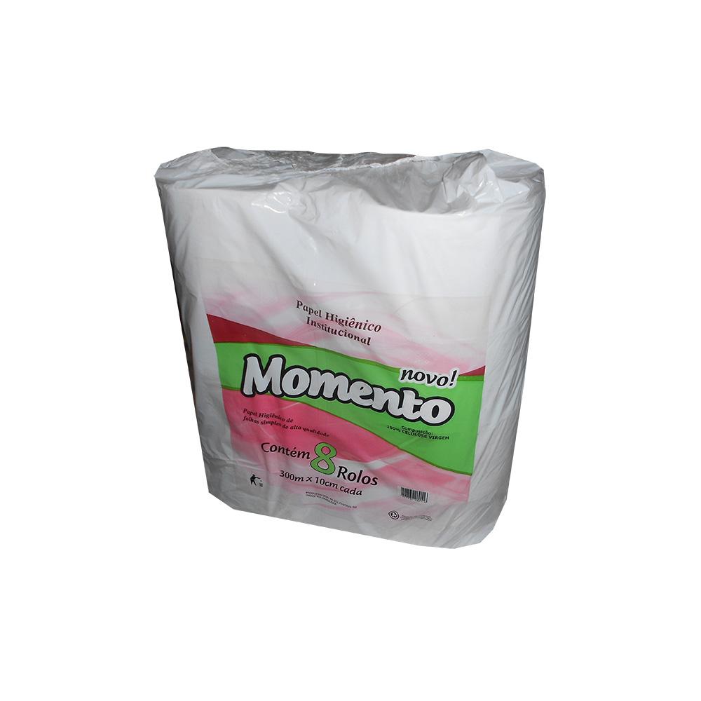 Papel Higiênico Folha Simples Rolão 300m Celulose PT 8 RL Momento
