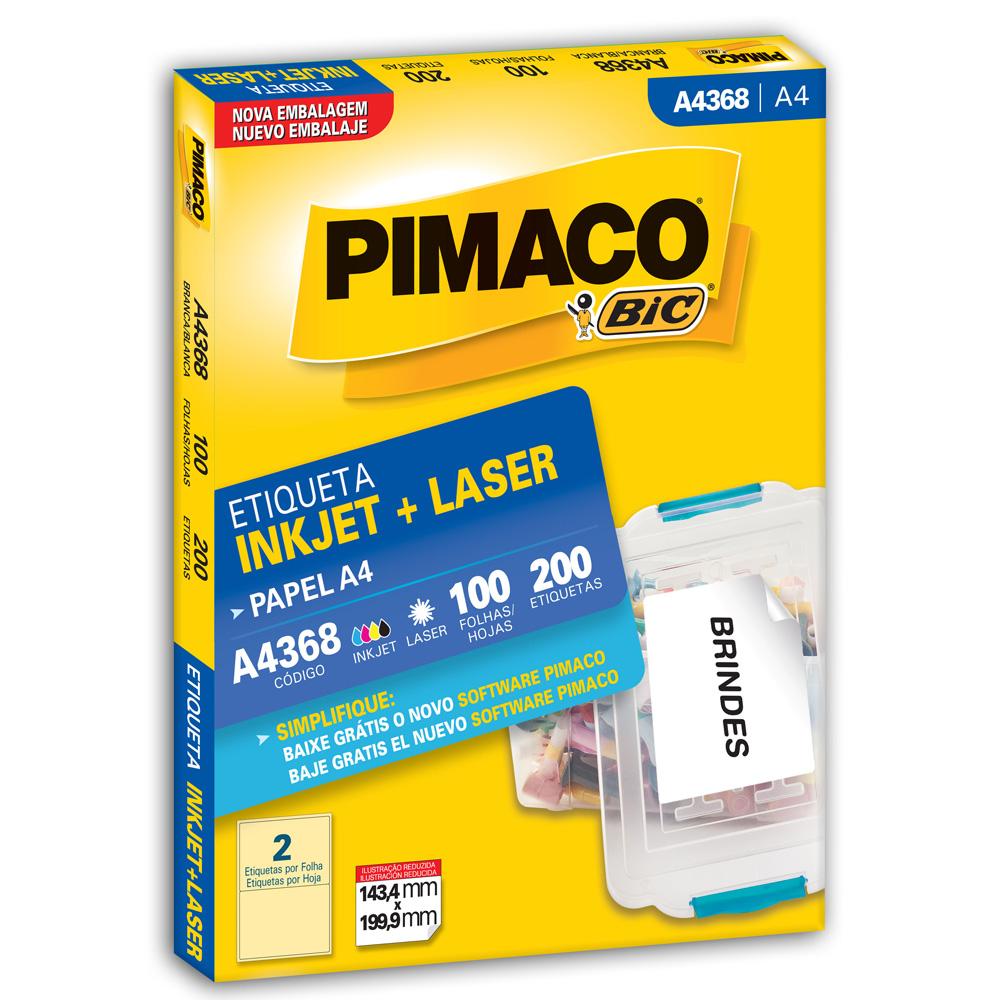 Etiqueta Adesiva InkJet e Laser A4 143,4x199,9mm Branco A4368 CX 200 UN Pimaco