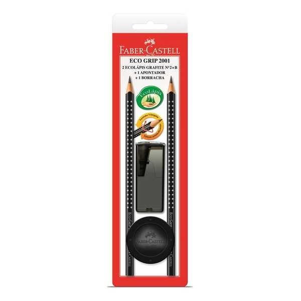 Lápis Preto B N.2 Eco Grip Triangular com Borracha e Apontador Preto 4 UN Faber Castell