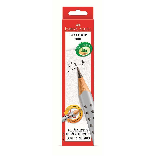 Lápis Preto B N.2 Eco Grip Triangular Cinza CX 12 UN Faber Castell