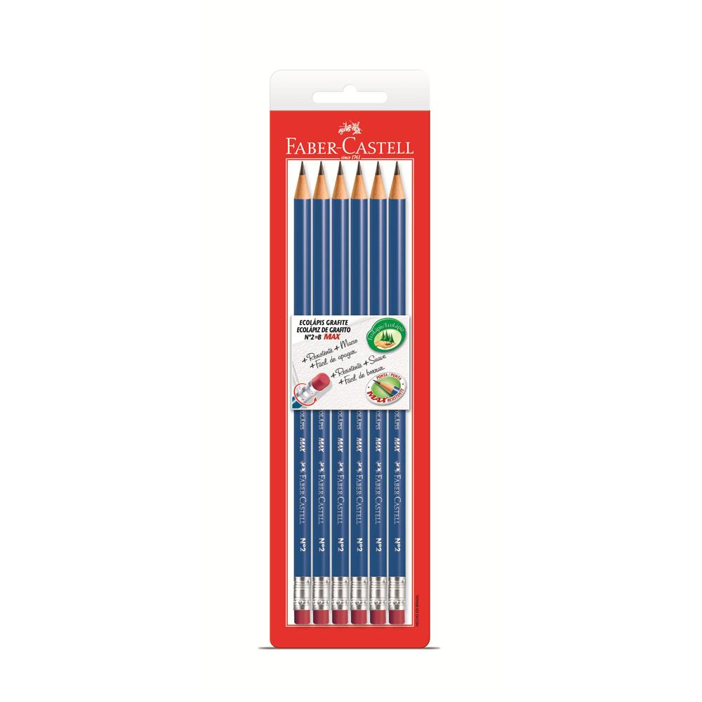 Lápis Preto B N.2 EcoLápis Redondo com Borracha 6 UN Faber Castell