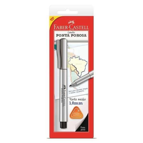 Caneta Hidrográfica Ponta Porosa Preta 1.0mm 1 UN Faber Castell