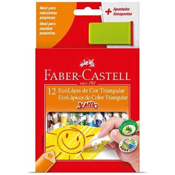 Lápis de Cor Triangular Jumbo 12 Cores Faber e Apontador Faber Castell