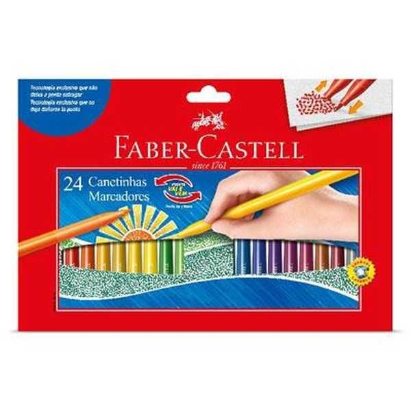 Caneta Hidrográfica Colorir Vai e Vem 24 Cores Faber Castell