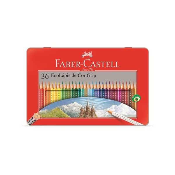 Lápis de Cor Triangular Grip Estojo de Lata 36 Cores Faber Castell