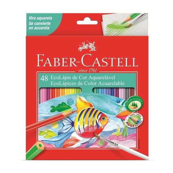 Lápis de Cor Sextavado Aquarelável 48 Cores Faber Castell