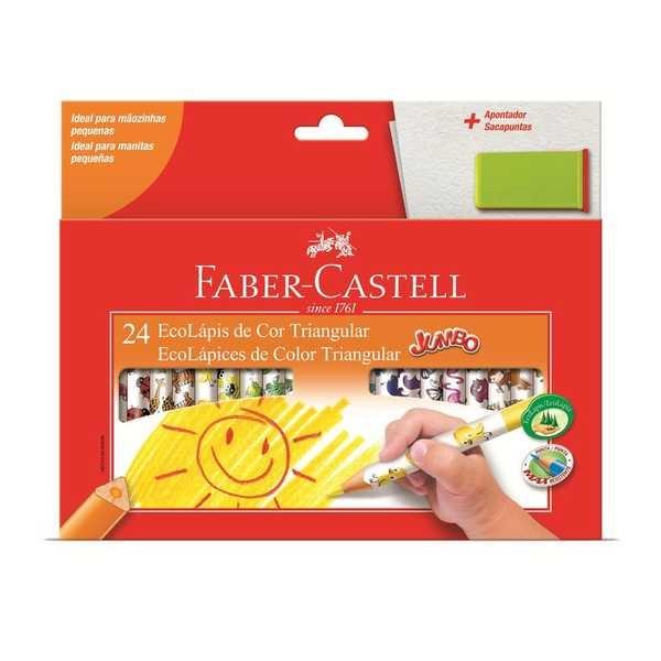 Lápis de Cor Triangular Jumbo 24 Cores Faber e Apontador Castell