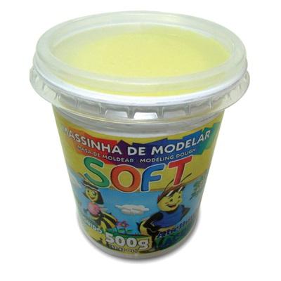 Massa de Modelar Soft Amarela 500g 1 UN Acrilex