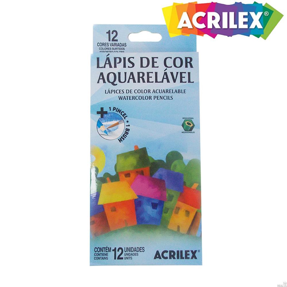 Lápis de Cor Aquarelável 12 Cores 1 Pincel Acrilex