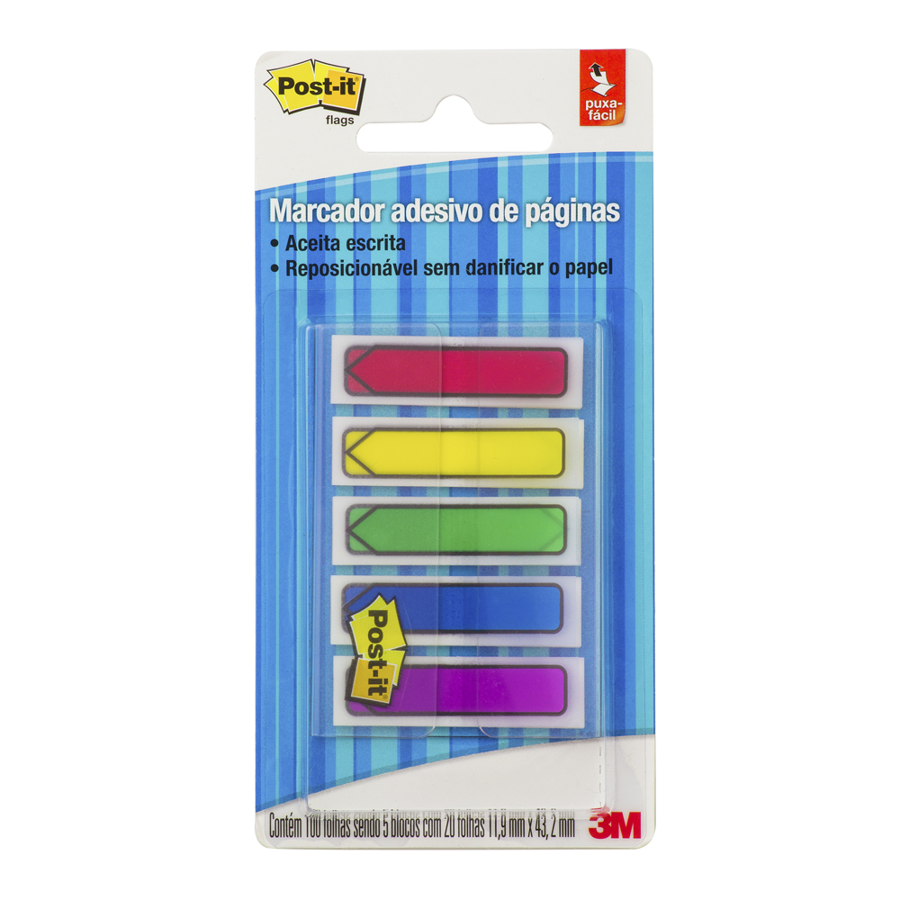 Marcador de Página Adesivo Seta 20 Folhas 5 Blocos 11,9x43,2mm Post it
