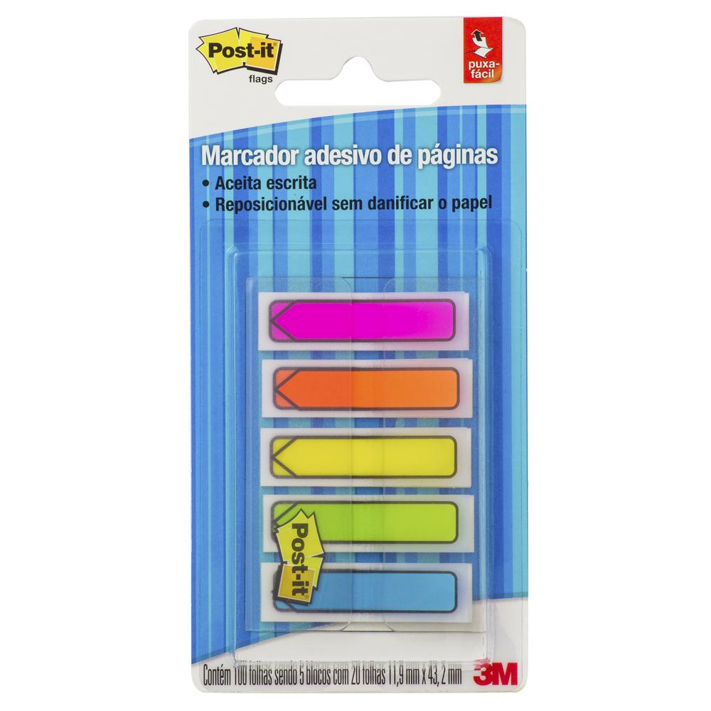 Marcador de Página Adesivo Seta Neon 20 Folhas 5 Blocos 11,9x43,2mm Post it