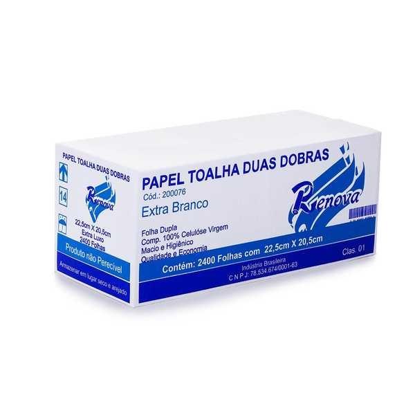 Papel Toalha Interfolha 2 Dobras 23x21cm Folha Dupla CX 2400 FL Idaial
