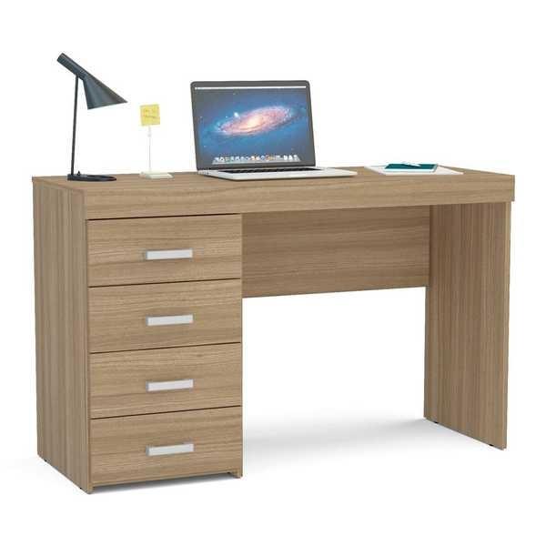 Mesa Escrivaninha Malta com 4 Gavetas Castanho 75,5x120x46,5cm 1 UN Politorno